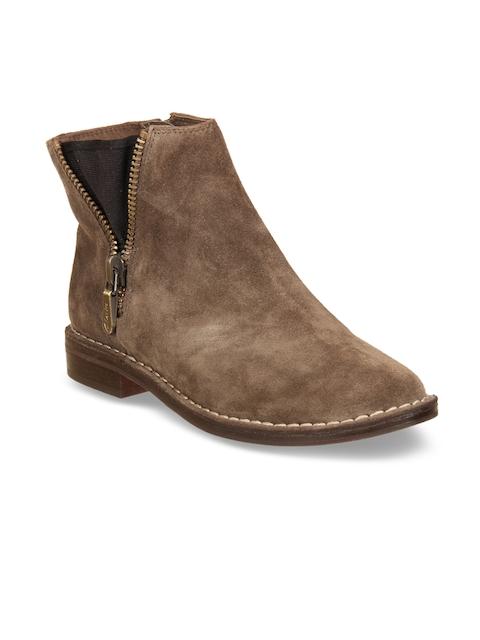Clarks Women Khaki Suede Boots