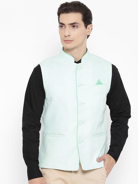 NEVA Men Green Solid Nehru Jacket