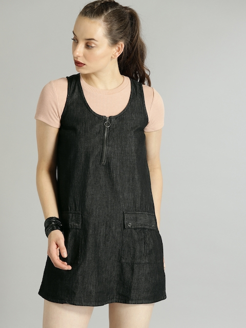 Roadster Women Black Solid A-Line Denim Dress
