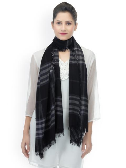 Anekaant Women Black & White Woven Design Stole