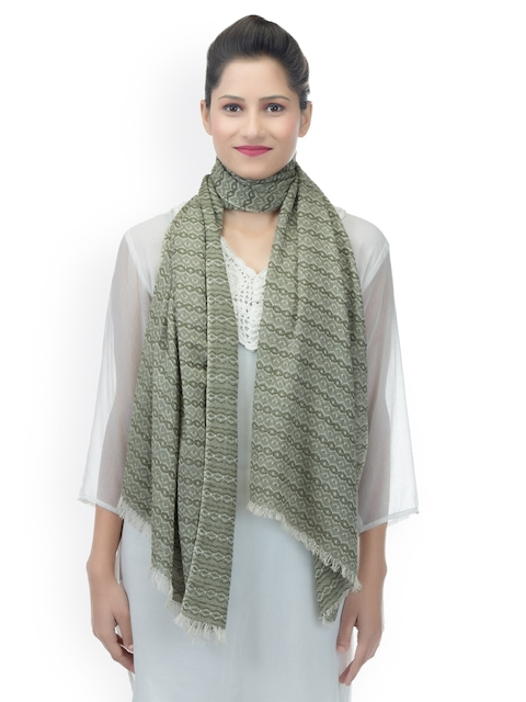 Anekaant Women Olive Green Woven Design Stole