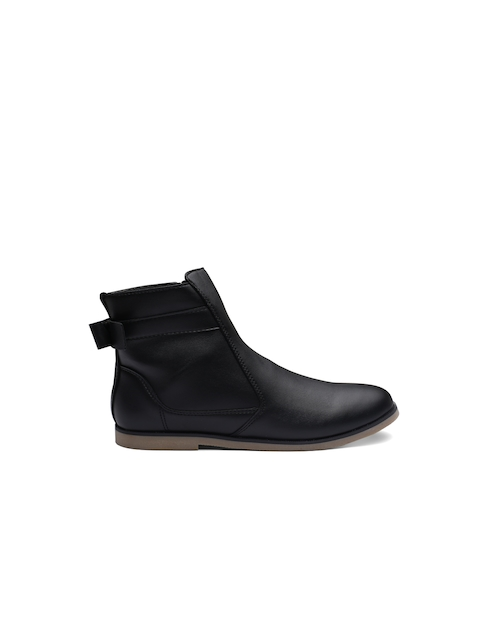United Colors of Benetton Girls Black Solid Synthetic Mid-Top Flat Boots