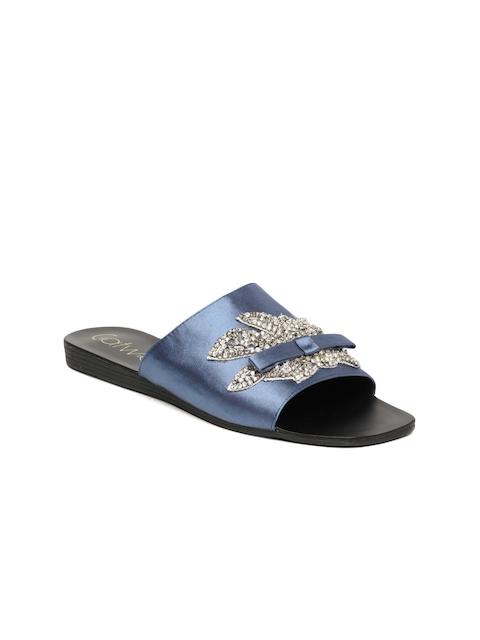 Catwalk Women Blue Embellished Synthetic Open Toe Flats