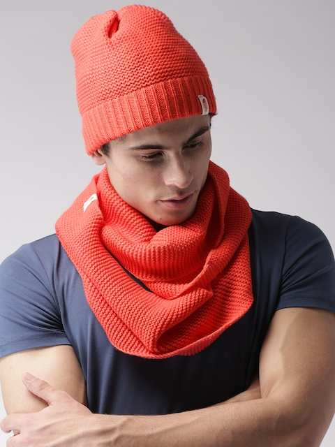 The North Face Unisex Red Infinity Scarf With Beanie