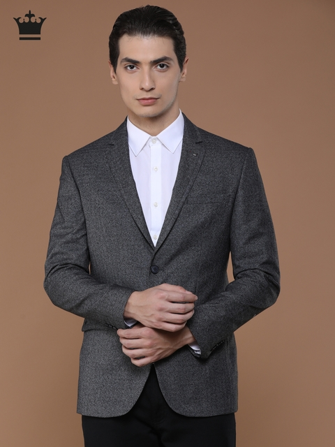 Louis Philippe Charcoal Grey Self-Design Milano Fit Single-Breasted Woolen Formal Blazer