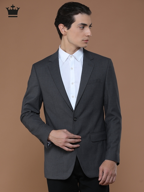 Louis Philippe Grey Ultra Fit Single-Breasted Self-Design Formal Blazer