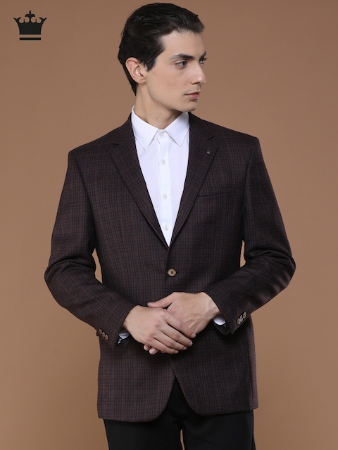 Louis Philippe Burgundy & Navy Blue Checked Ultra Fit Formal Blazer