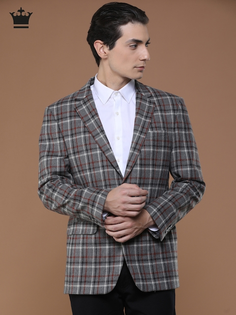 Louis Philippe Grey Checked Ultra Fit Formal Blazer