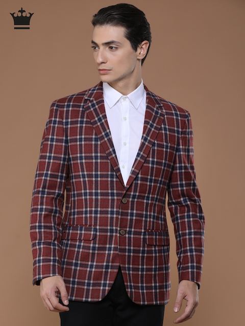 Louis Philippe Rust Checked Single-Breasted Woolen Slim Ultra Fit Formal Blazer