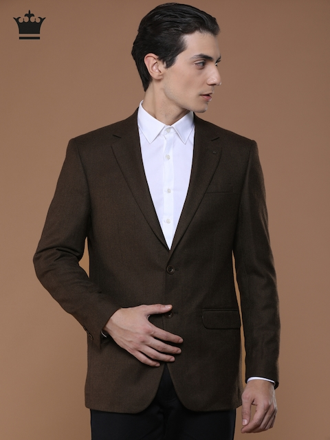Louis Philippe Brown Ultra Fit Single-Breasted Formal Blazer