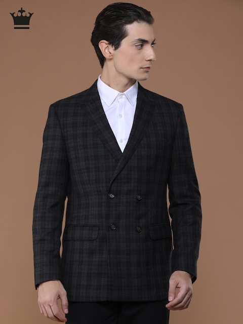 Louis Philippe Charcoal Grey Woollen Checked Ultra Fit Casual Blazer