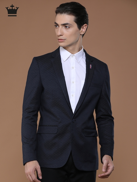 Louis Philippe Blue Single-Breasted Slim Fit Casual Blazer