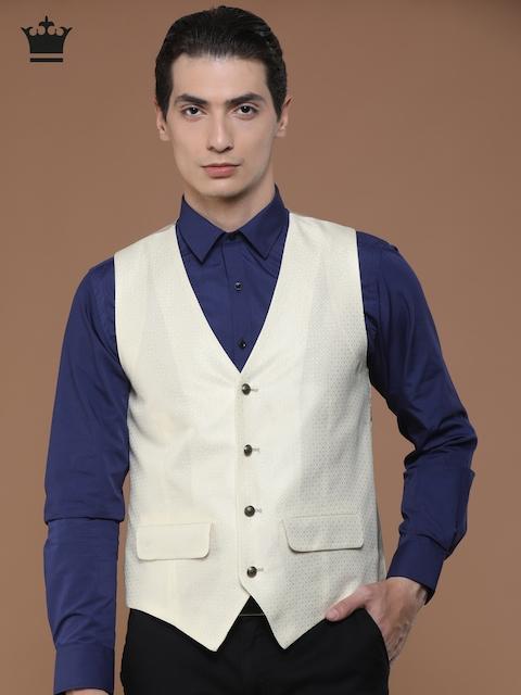 Louis Philippe Cream-Coloured Ultra Fit Waistcoat