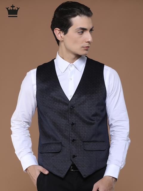 Louis Philippe Navy Blue Printed Ultra Fit Waistcoat