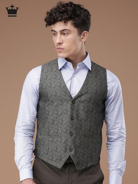 Louis Philippe Men Charcoal Grey Ultra Fit Self-Design Waistcoat