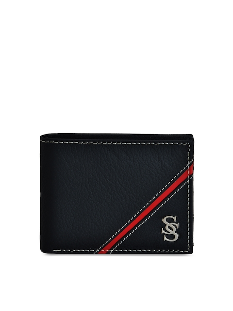 Second SKIN Men Black & Red Solid Two Fold Wallet