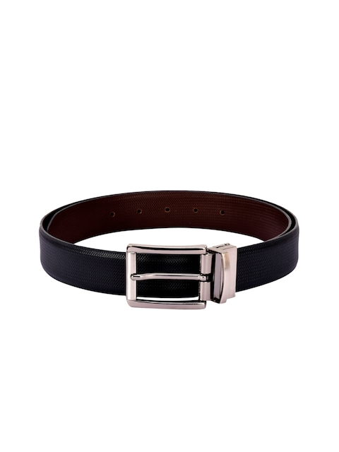BuckleUp Men Black & Brown Reversible Textured Belt