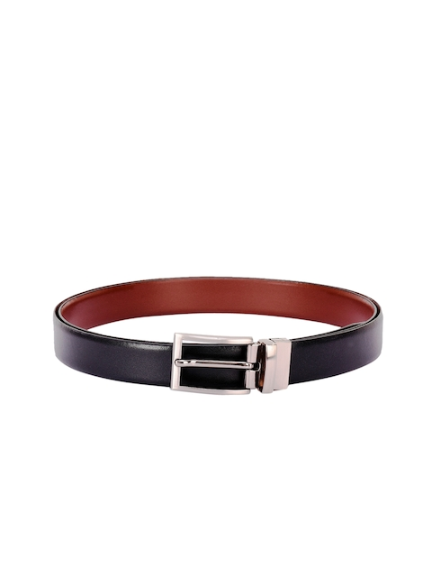 BuckleUp Men Black & Brown Solid Reversible Belt