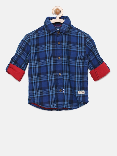 U.S. Polo Assn. Kids Boys Blue Regular Fit Checked Casual Shirt