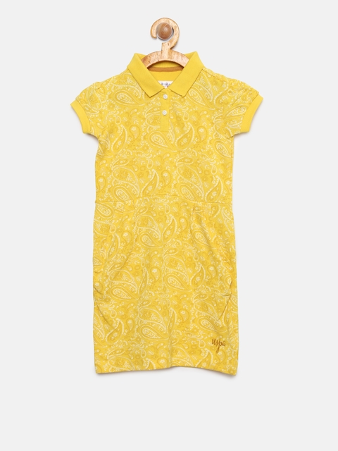 U.S. Polo Assn. Kids Girls Yellow Printed T-shirt Dress