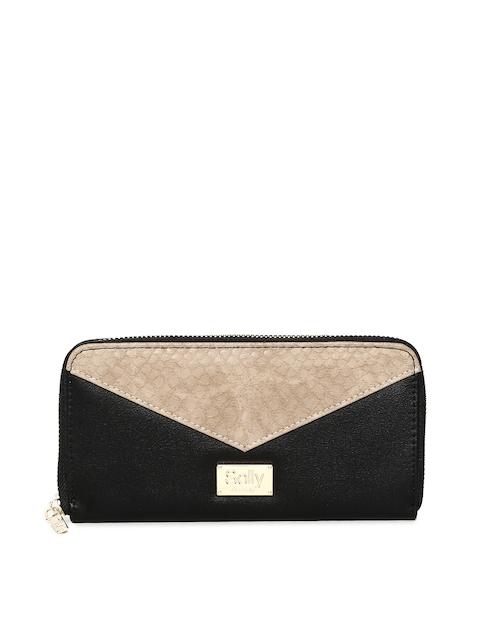 Allen Solly Women Beige & Black Colourblocked Zip Around Wallet