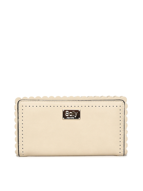 Allen Solly Women Beige Solid Zip Around Wallet