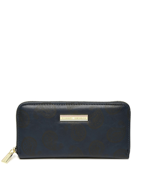 Tommy Hilfiger Women Navy Blue & Grey Printed Zip Around Wallet