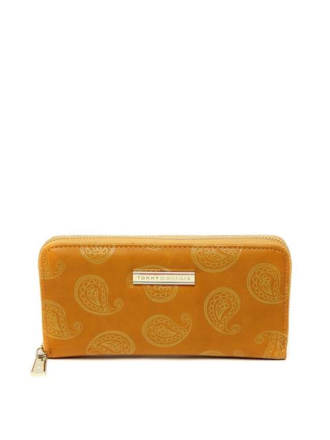 Tommy Hilfiger Women Mustard Yellow Printed Zip Around Wallet
