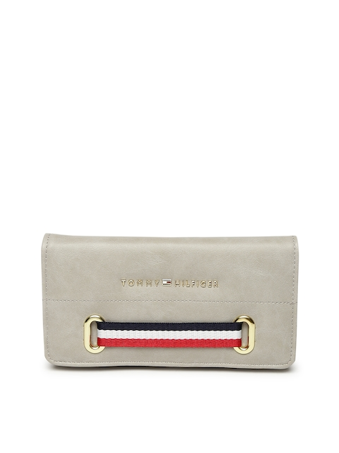 Tommy Hilfiger Women Grey Solid Two Fold Wallet