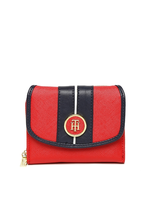 Tommy Hilfiger Women Red & Navy Blue Colourblocked Two Fold Wallet