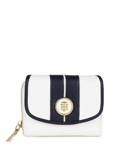 Tommy Hilfiger Women White & Navy Colourblocked Three Fold Wallet