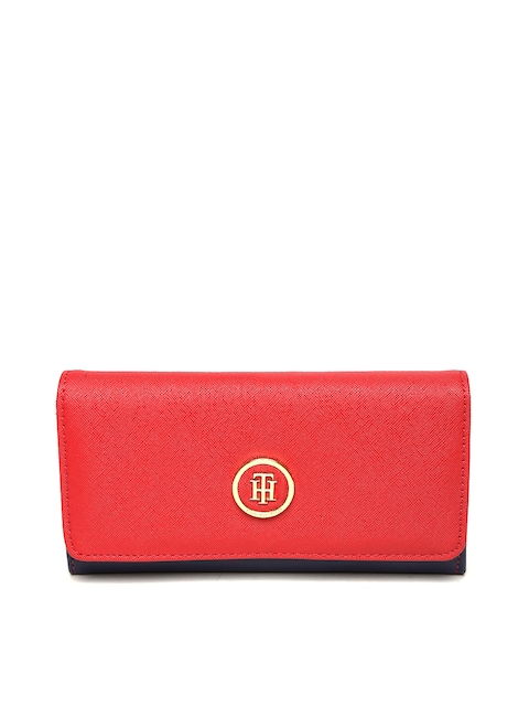 Tommy Hilfiger Women Red & Navy Colourblocked Two Fold Wallet