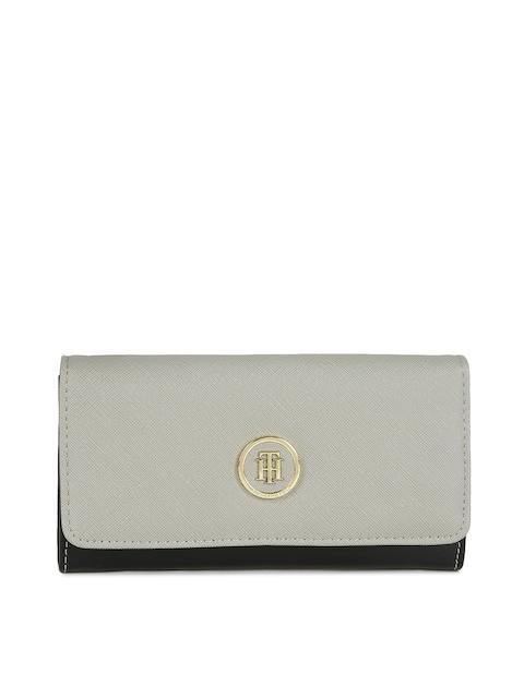 Tommy Hilfiger Women Grey & Black Solid Two Fold Wallet