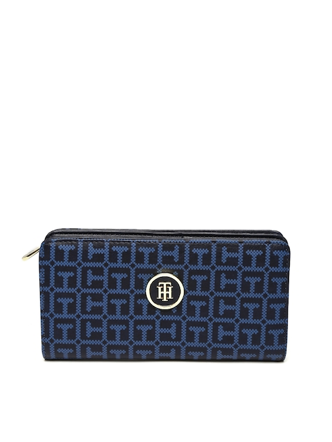 Tommy Hilfiger Women Navy Printed Two Fold Wallet