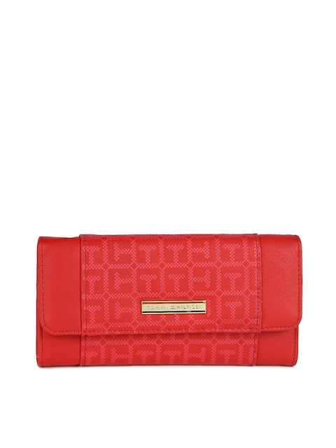 Tommy Hilfiger Women Red Printed Three Fold Wallet