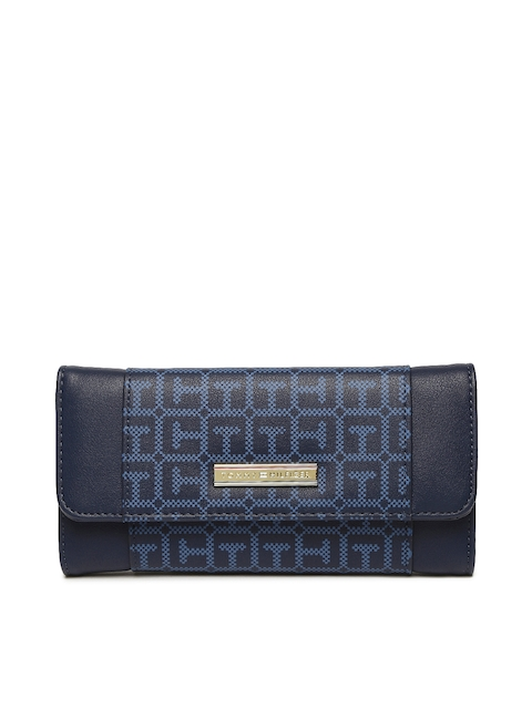 Tommy Hilfiger Women Blue Printed Three Fold Wallet