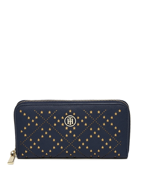 Tommy Hilfiger Women Navy Blue Textured Zip Around Wallet