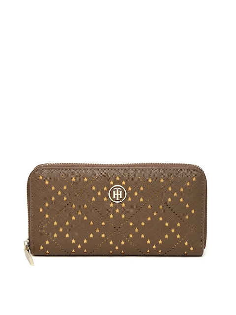 Tommy Hilfiger Women Brown Self Design Zip Around Wallet