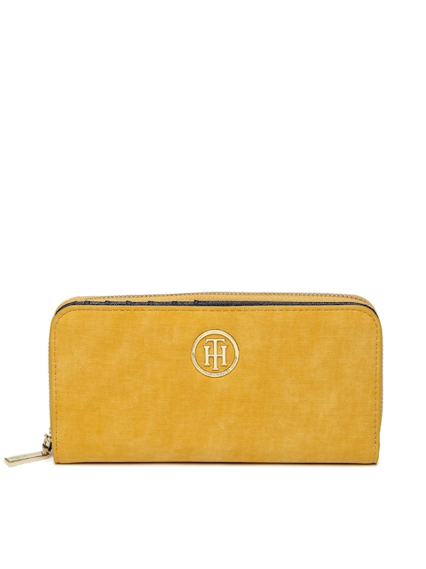 Tommy Hilfiger Women Mustard Yellow Solid Two Fold Wallet