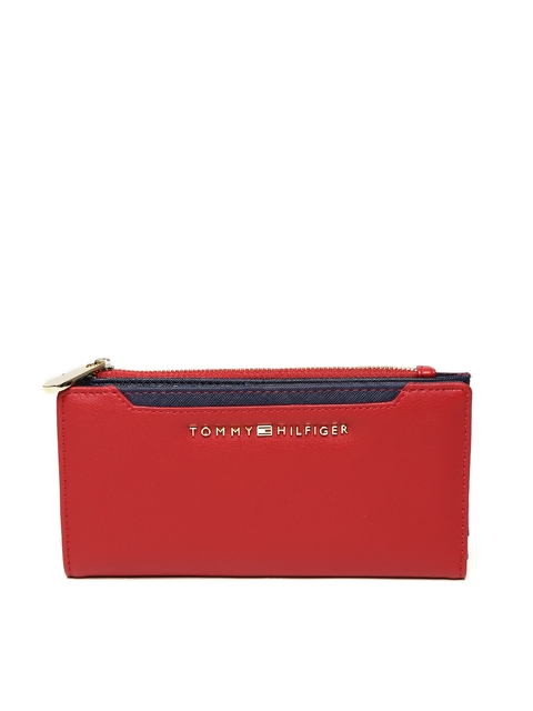 Tommy Hilfiger Women Red Solid Two Fold Wallet