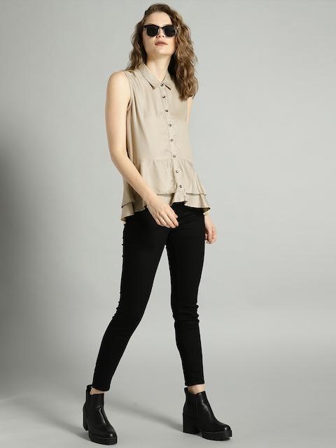 Roadster Women Beige Solid Shirt Style Top