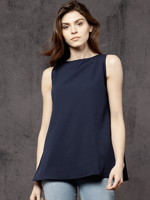 Roadster Women Navy Solid Styled Back Top