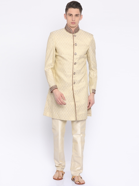 Peter England Traditions Men Cream-Coloured Patterned Sherwani