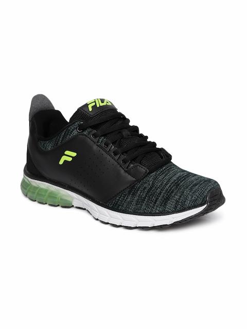 FILA Men Black & Charcoal Grey SPACE Energized Running Shoes