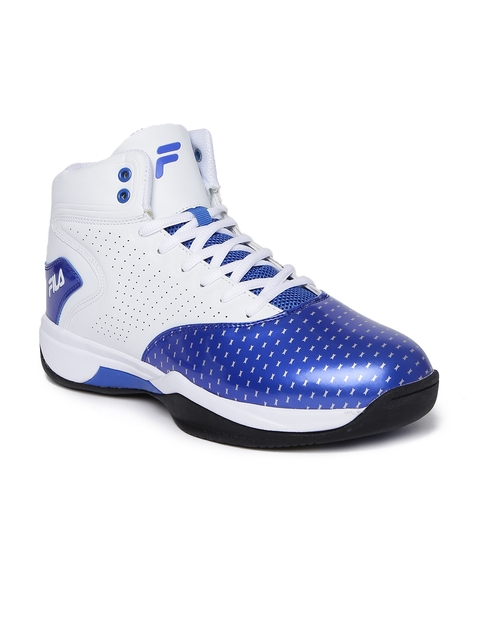 FILA Men Blue & White Printed LEGACY Non-Marking Basketball Shoes