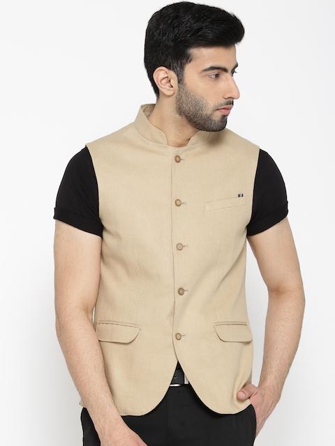 Blackberrys Beige Linen Solid Slim Fit Nehru Jacket