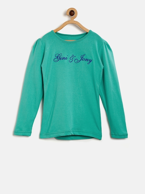 Gini and Jony Girls Blue Solid Top