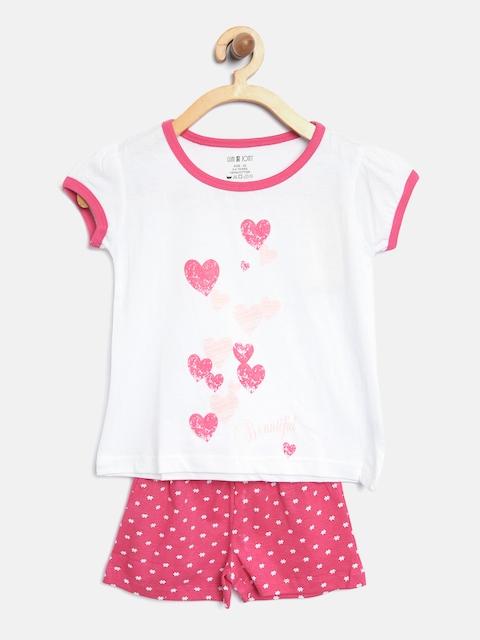 Palm Tree Girls White & Pink Printed Lounge Set 131246519539 1365