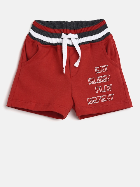 Gini and Jony Boys Red Printed Regular Fit Shorts