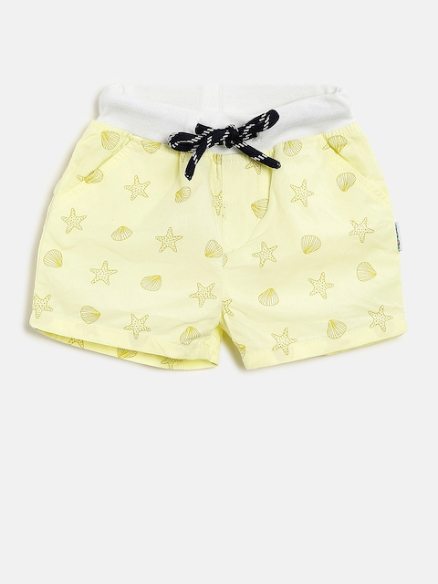 Gini and Jony Girls Yellow Printed Regular Fit Regular Shorts